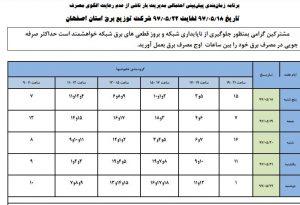 جدول قطع برق نجف آباد جمعه ۱۹ الی دوشنبه 22 مرداد